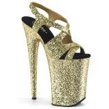 Guld 23 cm INFINITY-930LG glitter plateau high heels sko