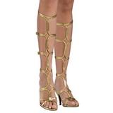 Guld 8 cm ROMAN-10 knæhøje gladiator sandaler til damer