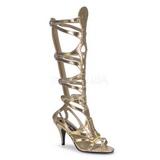Guld 9 cm GODDESS-12 knæhøje gladiator sandaler til damer