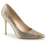Guld Glimmer 10 cm CLASSIQUE-20 spidse pumps med stiletter hæle