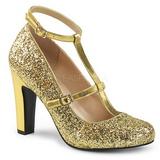 Guld Glimmer 10 cm QUEEN-01 store størrelser pumps sko