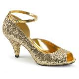 Guld Glimmer 7,5 cm BELLE-381G dame pumps sko med åben tå