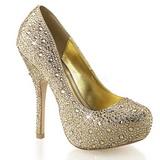 Guld Glitrende Sten 13,5 cm FELICITY-20 damesko med høj hæl