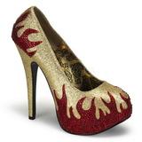 Guld Glitrende Sten 14,5 cm Burlesque TEEZE-27 damesko med høj hæl