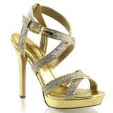 Guld Glitter 12 cm LUMINA-21 Høje Fest Sandaler med Hæl