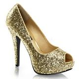 Guld Glitter 13,5 cm TWINKLE-18G Peep Toe Pumps Plateau