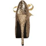 Guld Glitter 14,5 cm Burlesque TEEZE-10G Platform Pumps Sko