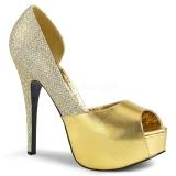 Guld Glitter 14,5 cm Burlesque TEEZE-41W pumps brede fødder til mænd