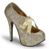 Guld Glitter 14,5 cm TEEZE-10G Platform Pumps Sko