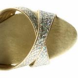 Guld Glitter 16,5 cm Pleaser ECLIPSE-619G Høje Stilethæle Plateau
