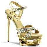 Guld Glitter 16,5 cm Pleaser ECLIPSE-619G højhælede plateausandaler