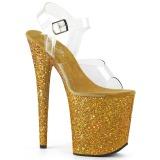 Guld Glitter 20 cm FLAMINGO-808LG Plateau Højhælede Sandaler Sko