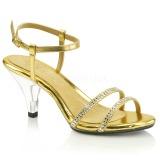 Guld Glitter 8 cm BELLE-316 lave højhælede sko med lav hæl