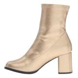 Guld Kunstlæder 7,5 cm GOGO-150 stretch ankelstøvler med blokhæl til kvinder