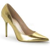 Guld Mat 10 cm CLASSIQUE-20 spidse pumps med stiletter hæle