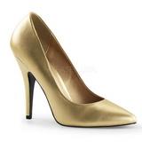 Guld Mat 13 cm SEDUCE-420 spidse pumps med høje hæle