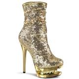 Guld Pailletter 15,5 cm BLONDIE-R-1009 pleaser ankelstøvler med plateau