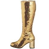 Guld Pailletter 8 cm SPECTACUL-300SQ Høje Damestøvler til Mænd