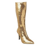 Guld Pailletter 9,5 cm FUNTASMA LUST-2001SQ Dame Støvler