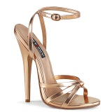 Guld Rosa 15 cm DOMINA-108 fetish sandaler med stilethæl