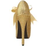 Guld Strass 14,5 cm Burlesque TEEZE-04R Høje Pumps Kvinder Plateau Hæle