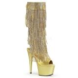 Guld Strass 18 cm ADORE-2024RSF høje damestøvler med frynser