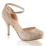 Guld Strass 9 cm COVET-03 klassisk pumps sko til damer