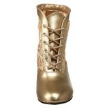 Guld blonder stof 5 cm DAME-05 Dame Ankel Støvler med Snørebånd