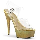 Guld glimmer 15 cm Pleaser DELIGHT-608HG poledance sko
