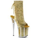 Guld glimmer 20 cm FLAMINGO-1018G poledance ankelstøvler