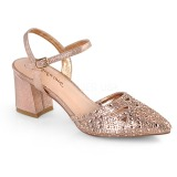 Guld glimmer 7 cm Fabulicious FAYE-06 højhælede sandaler til kvinder