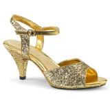 Guld glimmer 8 cm BELLE-309G højhælede sko til mænd