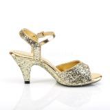 Guld glimmer 8 cm Fabulicious BELLE-309G højhælede sandaler til kvinder