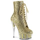 Guld glitter 15 cm DELIGHT-1020G ankelstøvler damer med plateausål