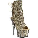 Guld glitter 18 cm ADORE-1018G ankelstøvler damer med plateausål