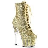 Guld glitter 18 cm ADORE-1020G ankelstøvler damer med plateausål