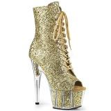 Guld glitter 18 cm ADORE-1021G ankelstøvler damer med plateausål