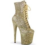 Guld glitter 20 cm FLAMINGO-1020GWR højhælede ankelstøvler - pole dance støvletter