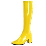 Gule laklæder støvler blokhæl 7,5 cm - 70 erne hippie disco boots knæhøje - patent læder støvler