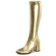 Gyldne vinyl støvler blokhæl 7,5 cm - 70 erne hippie disco gogo knæhøje boots