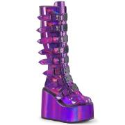 Hologram 14 cm SWING-815 alternativ plateaustøvler med spænder lilla