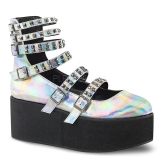 Hologram 7 cm DEMONIA GRIP-31 goth ankle boots with buckles
