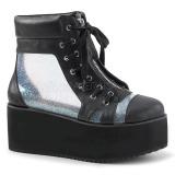 Hologram 7 cm Demonia GRIP-102 gothic ankelstøvler med plateausål