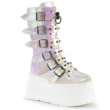 Hologram 9 cm DAMNED-225 womens buckle boots with platform