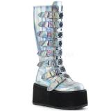 Hologram 9 cm DAMNED-318 plateau damestøvler med spænder