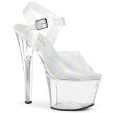 Hologram høje hæle 18 cm SKY-308N JELLY-LIKE stræk materiale plateau høje hæle