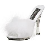 Hvid 12,5 cm GLITZY-501-8 Marabou fjer Høje Slip in sko