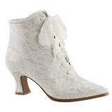Hvid 12 cm VICTORIAN-30 Dame Ankel Støvler med Snørebånd
