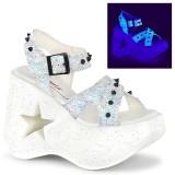 Hvid 13 cm Demonia DYNAMITE-02 lolita sandaler med kilehæle