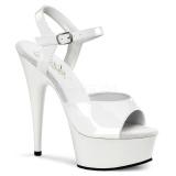 Hvid 15 cm DELIGHT-609 pleaser høje hæle med plateau